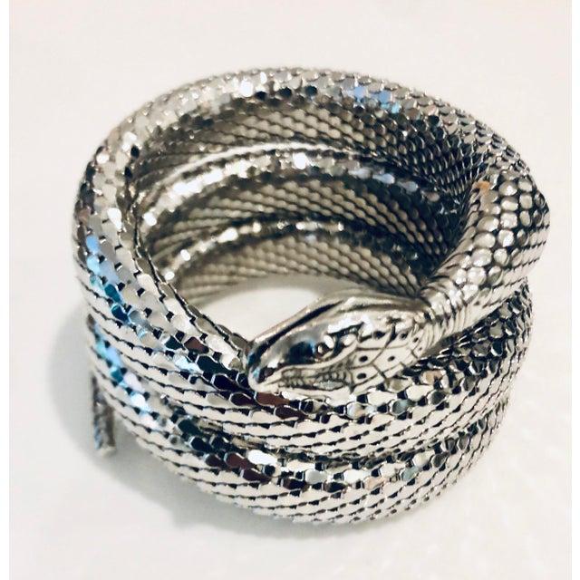 1980s 1980s Whiting & Davis Silver Mesh Three Coil Snake Bracelet For Sale - Image 5 of 6