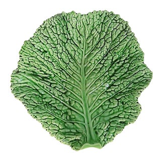 Majolica Cabbage Leaf Platter For Sale