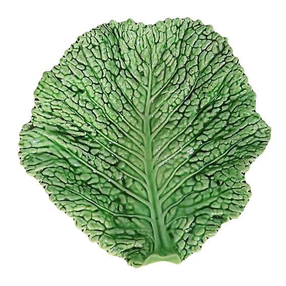 Majolica Cabbage Leaf Platter For Sale