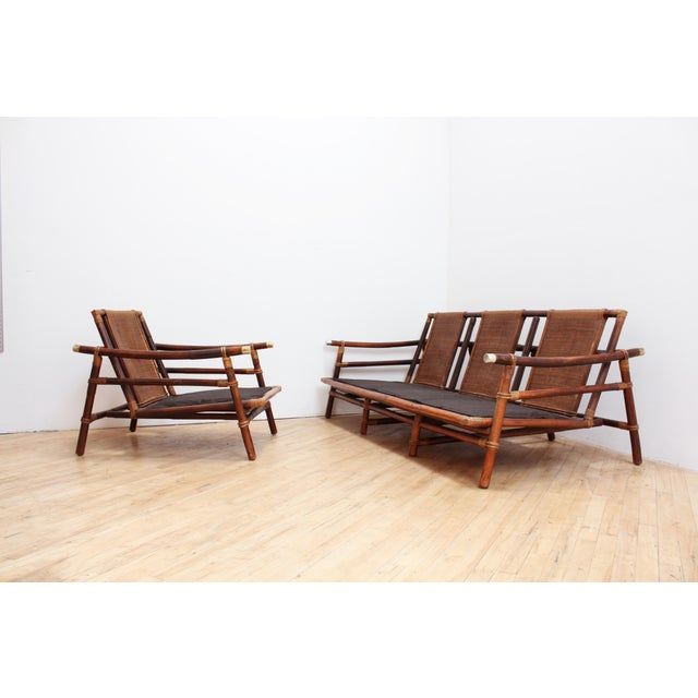 1950s Authentic Signed Ficks Reed Rattan Campaign Chair- 1954 For Sale - Image 5 of 13