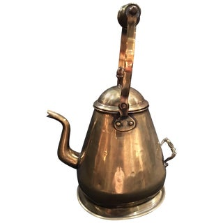English Polished Brass Kettle, 19th Century For Sale