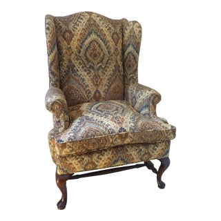 19th Century English Mahogany Wingback Chair For Sale