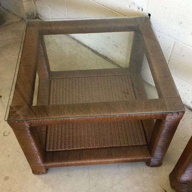 2010s Janus Et Cie Wicker & Glass Top End Tables For Sale - Image 5 of 11