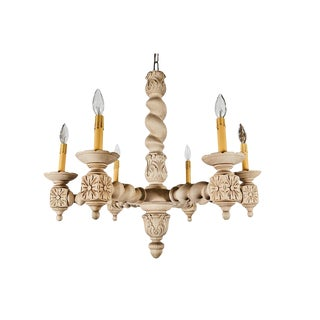 Large French Bleached Oak Chandelier For Sale