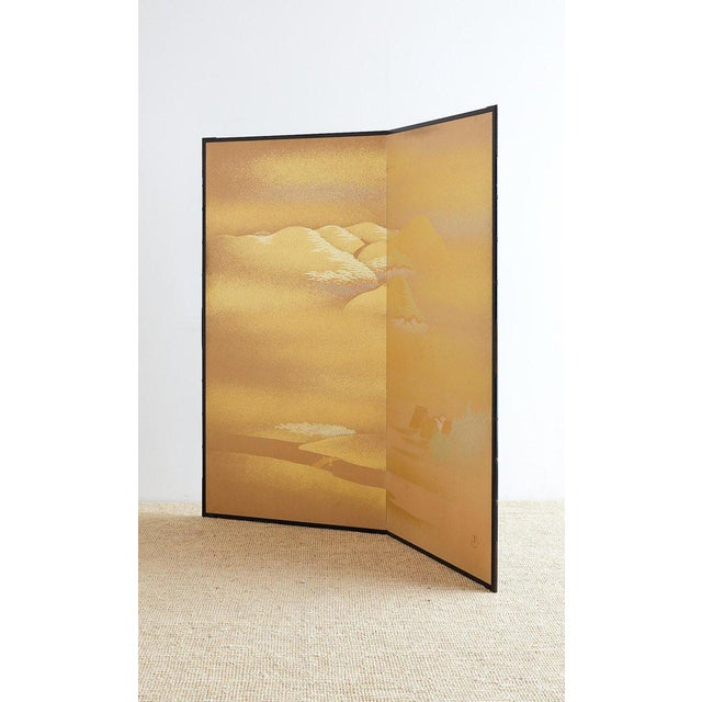 Asian Japanese Two-Panel Gold Leaf Screen by Yoshikawa For Sale - Image 3 of 13