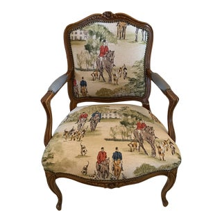 "Vintage ""Hunting"" Fabric Chair For Sale"