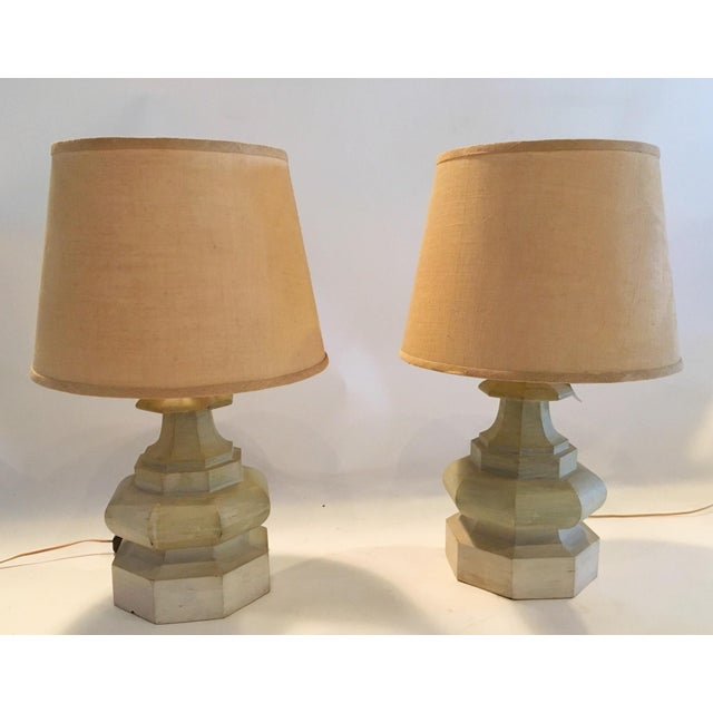 Mid-Century Carved Table Lamps - A Pair - Image 3 of 6