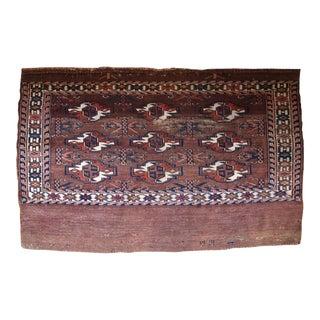 1880s Handmade Antique Turkmen Yomud Rug 2.6' X 3.5' For Sale