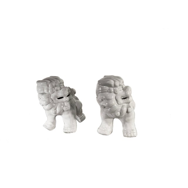 Vintage Late 20th Century High Gloss White Ceramic Foo Dogs - a Pair For Sale - Image 4 of 5