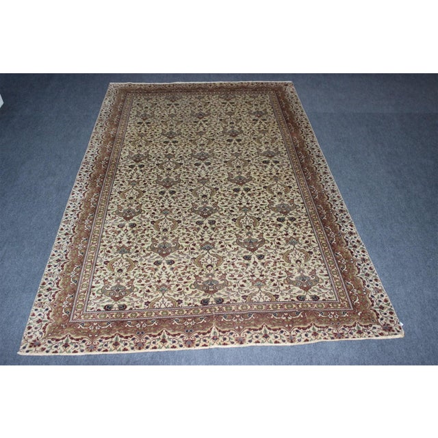 "White Oriental Turkish Rug - 6'3"" x 9'8"" For Sale - Image 8 of 8"