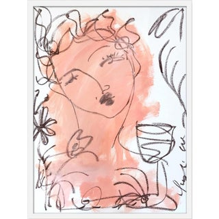 "Medium ""Flowers and Wine in Salmon"" Print by Leslie Weaver, 25"" X 32"" For Sale"