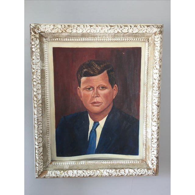 Vintage oil on board portrait of John F. Kennedy, signed in bottom left corner. Board shows slight warp shown in photo.