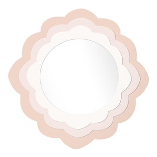 Fleur Home x Chairish Audobon Magnolia Circle Mirror in Pink Ground, 24x24 For Sale