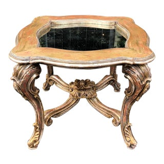 Rare 18th C Style Rococo Venetian Table by Traditional Imports W Aged Mirror For Sale
