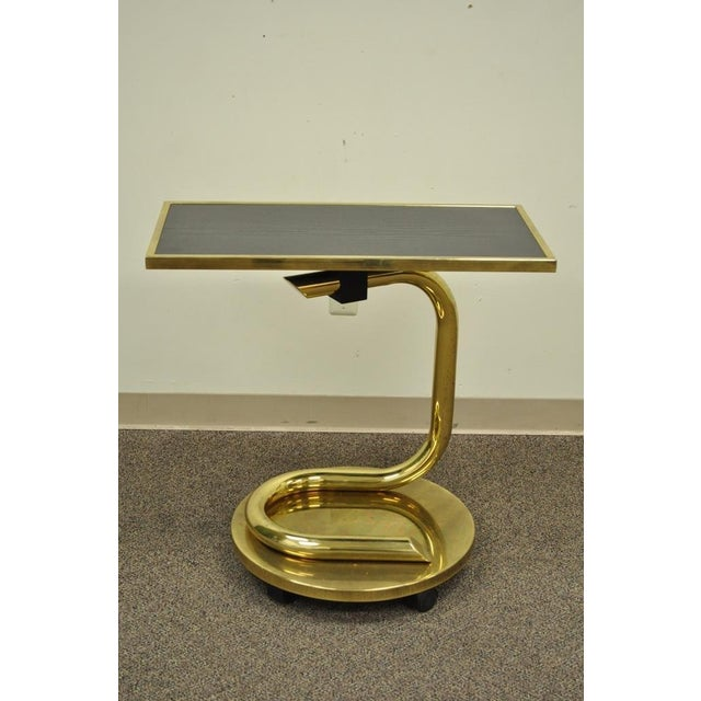 Hollywood Regency Vintage Paul Tuttle Mid Century Modern Brass Revolving Tray Top Anaconda Side Table For Sale - Image 3 of 11
