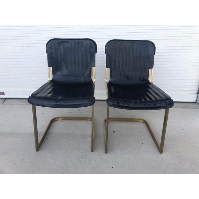 Modern Rake Brass Chairs- A Pair For Sale In Los Angeles - Image 6 of 6