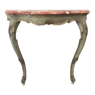 19th C. Italian Marble Top Painted Console Table For Sale