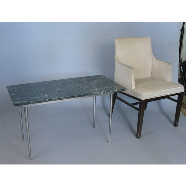 Contemporary Vintage 1960s Steel and Green Marble Top Table For Sale - Image 3 of 8