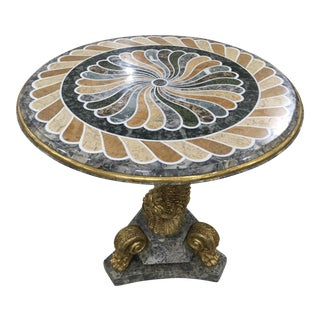 1980s Vintage Pietra Dura Dolphin Base Marble Table For Sale