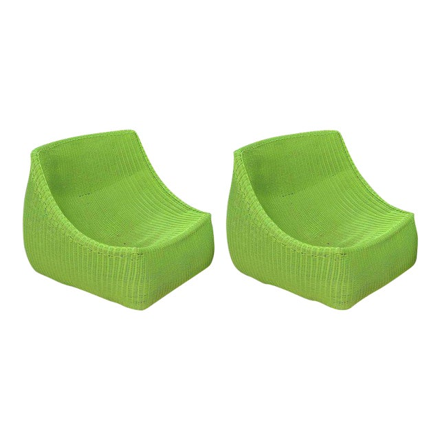 Woven Fiberglass Lime Green Lounge Chairs - A Pair For Sale