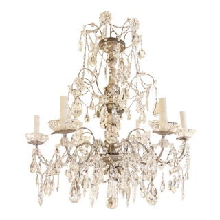 19th Century Italian Silvered Genovese Chandelier For Sale