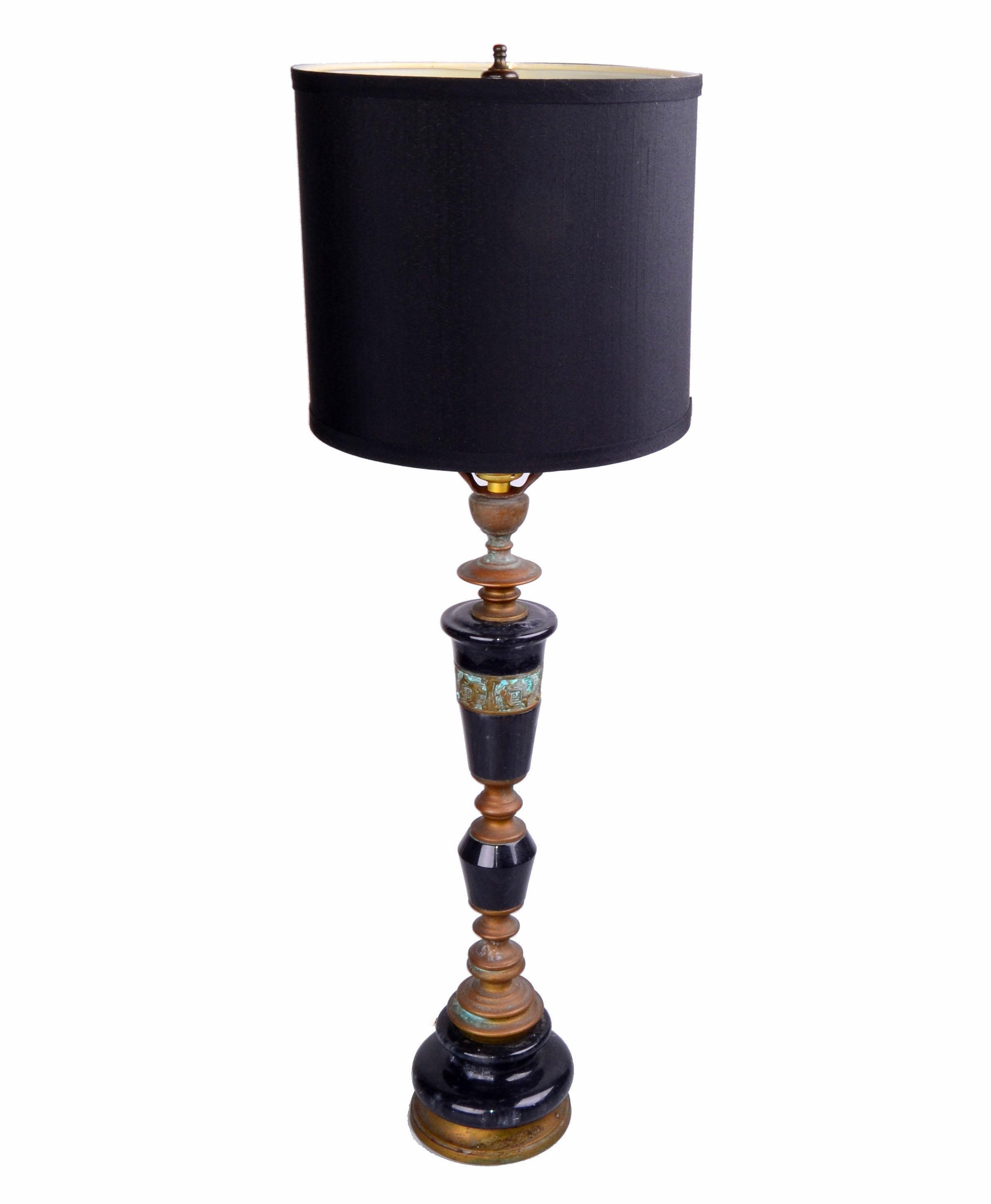 Bronze Black Marble Table Lamp Chairish