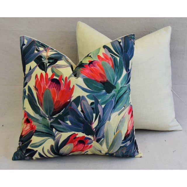 "18"" Colorful Tropical Protea Floral Feather/Down Pillows - a Pair - Image 10 of 11"