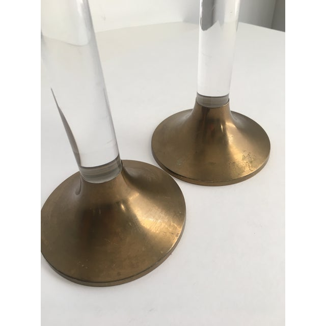 1970s Hollywood Regency Brass & Lucite Candle Holders - a Pair For Sale - Image 5 of 8