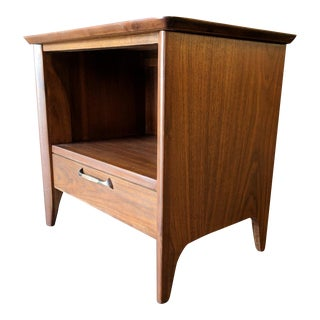 Single Mid Century Refinished Nightstand With Original Drawer Pull
