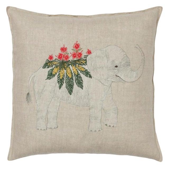 2010s French Ecru Linen Benevolent Elephant Pillow For Sale