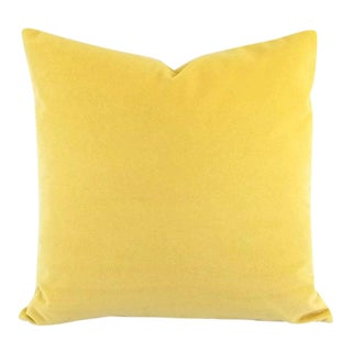 "Solid Yellow Velvet Pillow Cover - 20"" X 20"" For Sale"