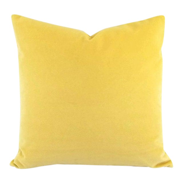 """Solid Yellow Velvet Pillow Cover - 20"""" X 20"""" For Sale"""