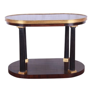 1990s Vintage Dessin Fournir Neoclassical Oval Two-Tiered Occasional Table For Sale