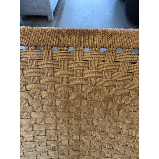 Organic Mid Century Modern Woven Rope and Teak Folding Armchair For Sale - Image 9 of 12
