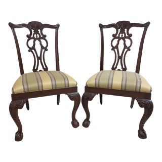 Ethan Allen 18th Century Mahogany Chippendale Ball & Claw Dining Chairs - A Pair