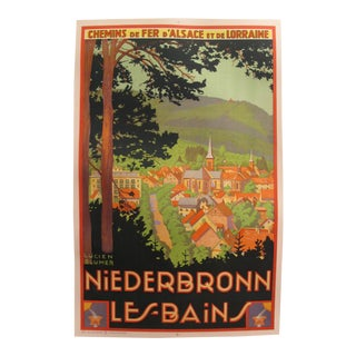 Original French Vintage Art Deco Travel Poster, Neiderbronn Les Bains For Sale