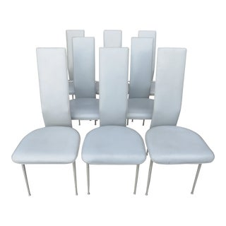 Italian High Back Light Gray Leather Dining Chairs - Set of 8 For Sale