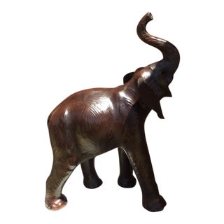 Mid-Century Leather Wrapped Elephant Statue For Sale