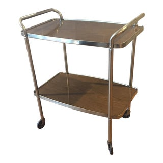 Mid Century Brass & Walnut Veneer Bar Cart