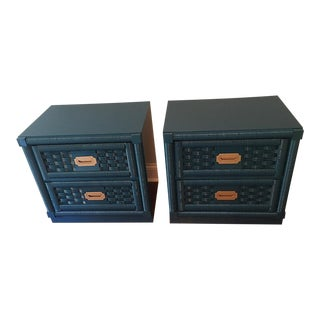 Lacquered Dixie Wicker Weave Campaign Chests - a Pair
