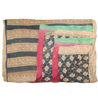 Vintage Brown & Blue Turkish Kantha Quilt For Sale