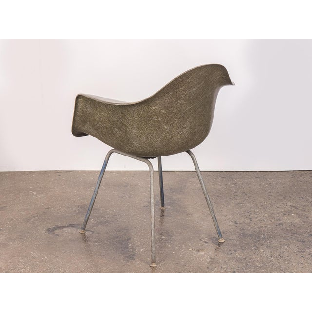 1960s Eames Olive Green Fiberglass Armshell Chair For Sale - Image 5 of 9