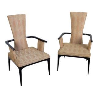 1950s Hollywood Regency Ebonized Armchairs - a Pair For Sale
