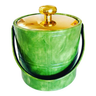 1960s Kraftware Ice Bucket in Vinyl Green For Sale