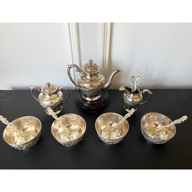 Chinese Export Sterling Silver Tea Set with Dragon Design Tianjing Wuhua - 13 Pieces For Sale - Image 12 of 13