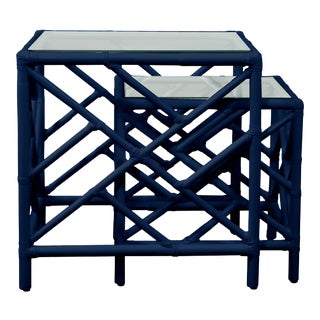 Chippendale Nesting Tables - Navy Blue For Sale