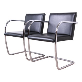 Mies Van Der Rohe Black Leather and Chrome Brno Chairs, Pair For Sale
