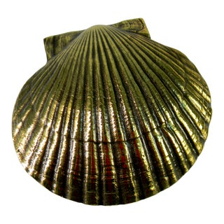 Michael Healey Design Oversize Cast Brass Cape Cod Scallop Shell Door Knocker For Sale