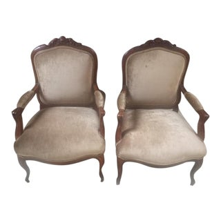 Late 19th Century Walnut & Velvet French Arm Chairs- A Pair For Sale