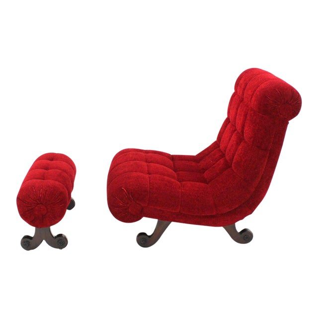 Hollywood Regency Scoop Shape Lounge Chair Foot Stool Red Upholstery HOT For Sale